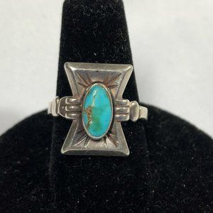 Sterling Ring with Turquoise Stone Hand Crafted